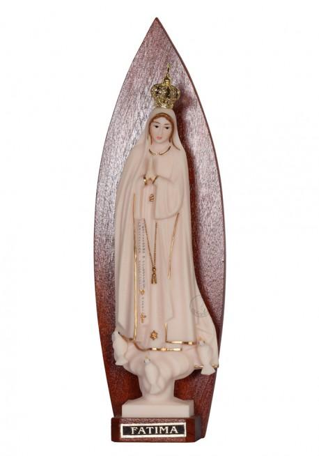Nossa Senhora de Fátima, Imitação de Marfim c/ Galão em Espaldar
