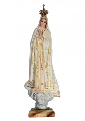 Nossa Senhora de Fátima, Pintura a Óleo e Ouro Fino 53cm