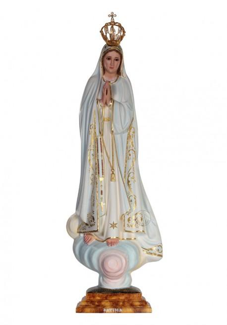 Nossa Senhora de Fátima, Pintura a Óleo e Ouro Fino 73cm