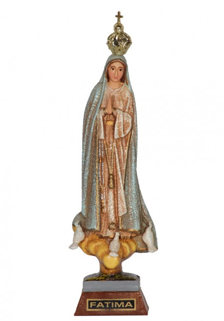 Our Lady of Fatima, Granite Imitation w/ Painted Eyes 17cm