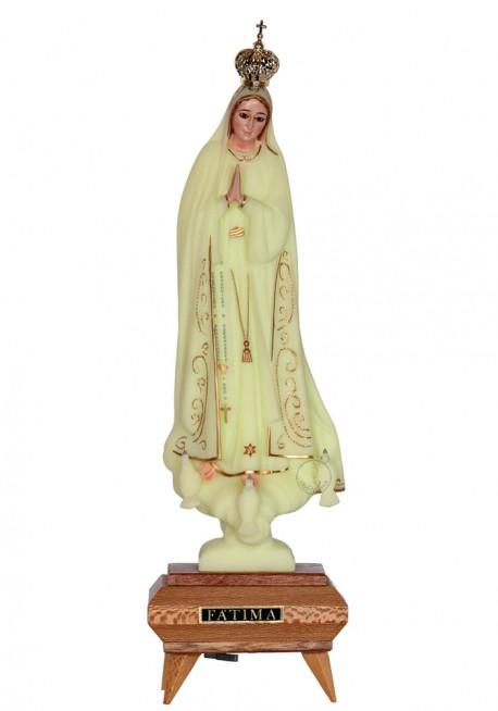Nossa Senhora de Fátima, Luminosa c/ Música, Cercadura e Olhos de Cristal 31cm