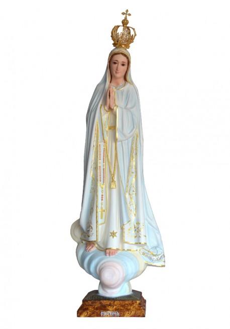 Nossa Senhora de Fátima, Pintura a Óleo e Ouro Fino 83cm